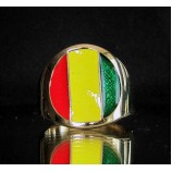 flag of guinea one finger brass ring