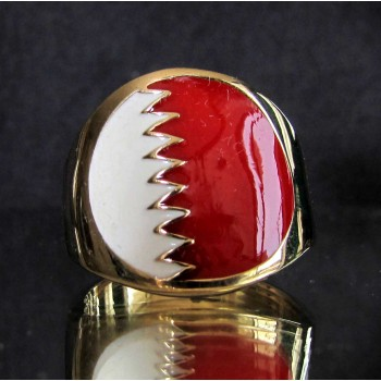 flag of bahrain one finger brass ring