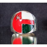 flag of oman one finger sterling silver ring