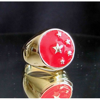flag of china one finger brass ring