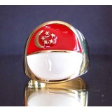flag of singapore one finger brass ring