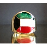 flag of kuwait one finger brass ring