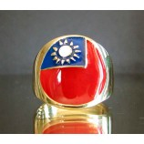 flag of taiwan one finger brass ring