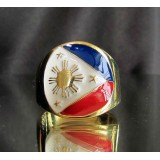 flag of the philippines one finger brass ring