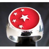 flag of china one finger sterling silver ring