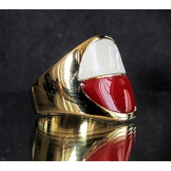 flag of poland one finger brass ring