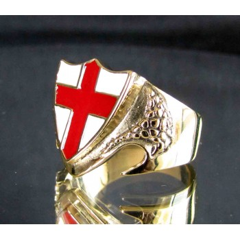flag of england one finger brass ring