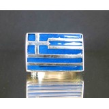 flag of greece one finger sterling silver ring