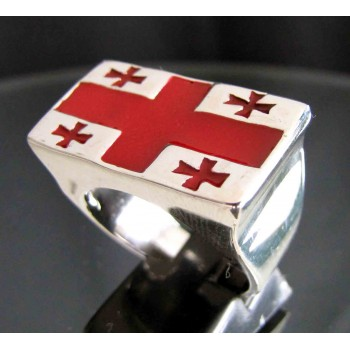 flag of georgia one finger sterling silver ring