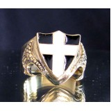 saint piran's flag of cornwall one finger brass ring