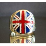 flag of the united kingdom union jack one finger brass ring