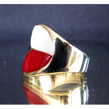 flag of czech republic one finger brass ring