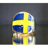 flag of sweden one finger brass ring