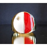 flag of malta one finger brass ring