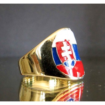 flag of slovakia one finger brass ring