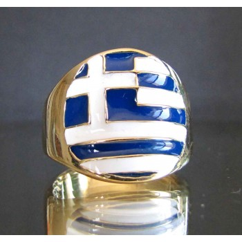 flag of greece one finger brass ring