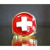 flag of switzerland one finger brass ring