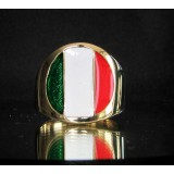 flag of italy one finger brass ring