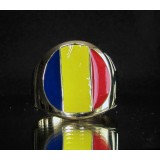 flag of romania one finger brass ring