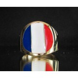 flag of france one finger brass ring
