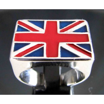 flag of the united kingdom union jack one finger sterling silver ring