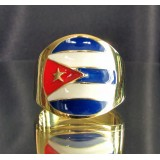 flag of cuba one finger brass ring
