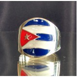 flag of cuba one finger sterling silver ring