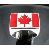 flag of canada marple leaf one finger sterling silver ring