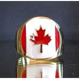flag of canada marple leaf one finger brass ring