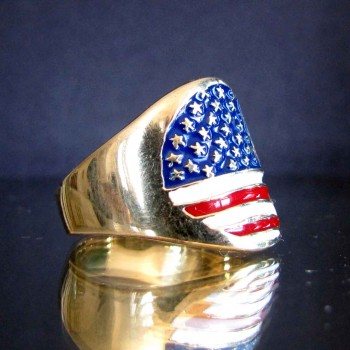 flag united states of america stars and stripes one finger brass ring