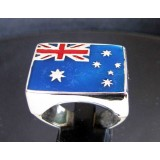 flag of australia one finger sterling silver ring