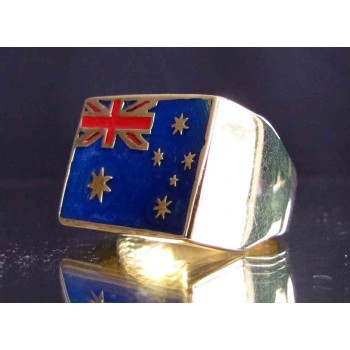 flag of australia one finger brass ring