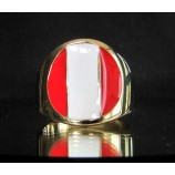 flag of peru one finger brass ring