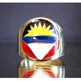 flag of antigua and barbuda one finger brass ring